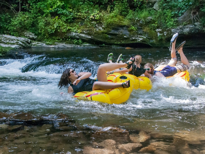 Tubing the crystal clear waters at Deep Creek
