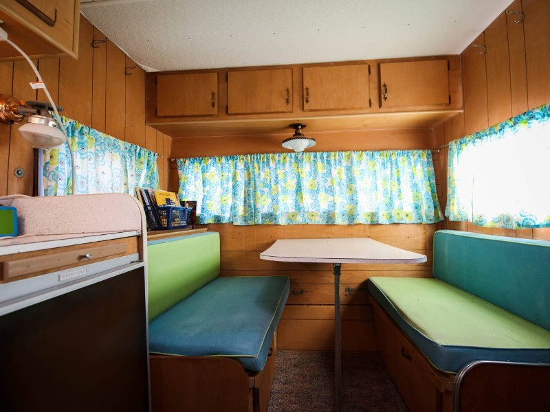 Dining table in 1965 camper