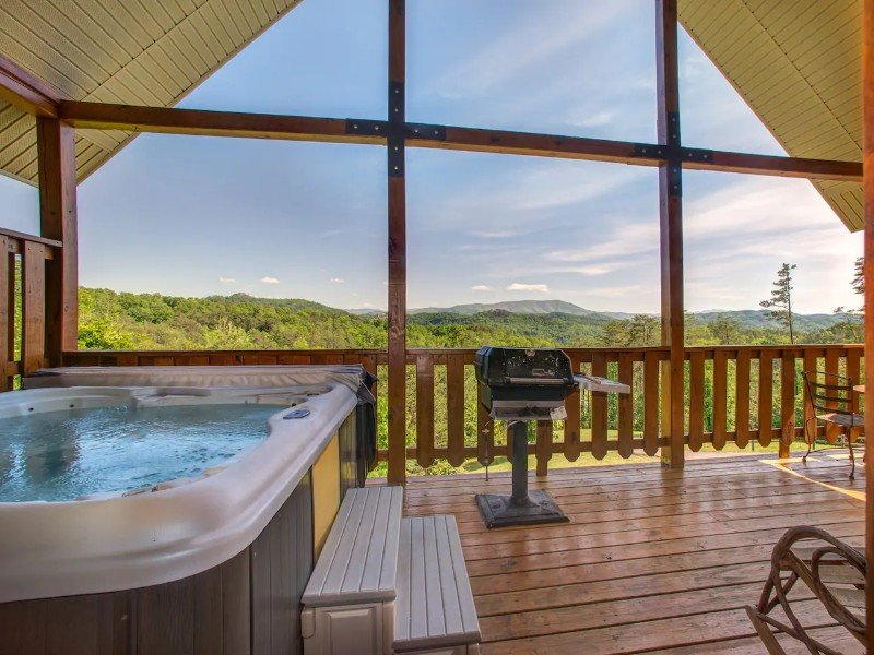 Cabin with Private Hot Tub & Mountain Views