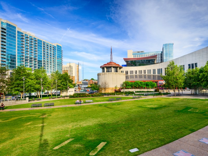 Country Music Hall of Fame viewed from Music City Walk of Fame Park