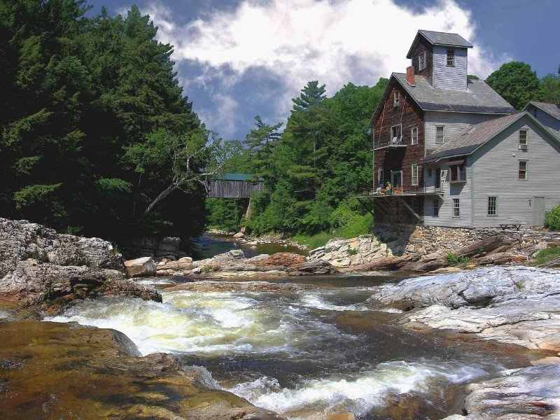 Kingsley Grist Mill, Covered Bridge and Waterfall, Clarendon Vermont Airbnb