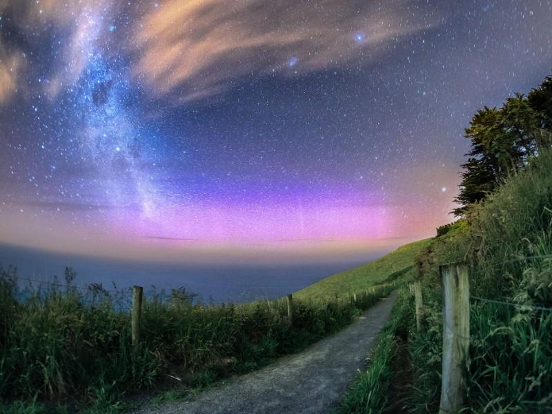 Beautiful aurora with Milky Way galaxy in New Zealand