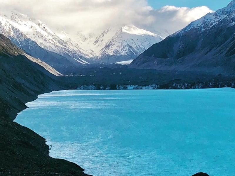 view of Tasman Glacier, Mount Cook National Park, South Island, New Zealand