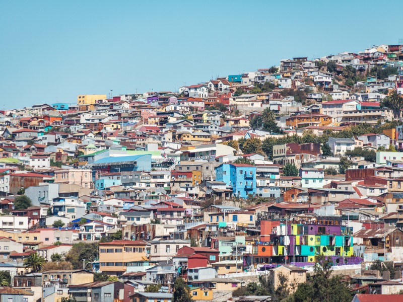 Houses of Valparaiso, view from Cerro Concepcion Hill