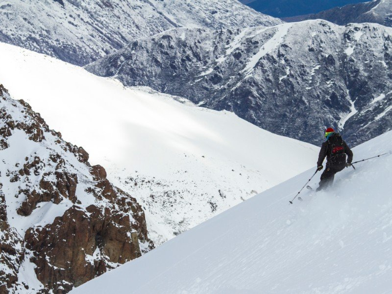 Freerider going down the mountain in Chile