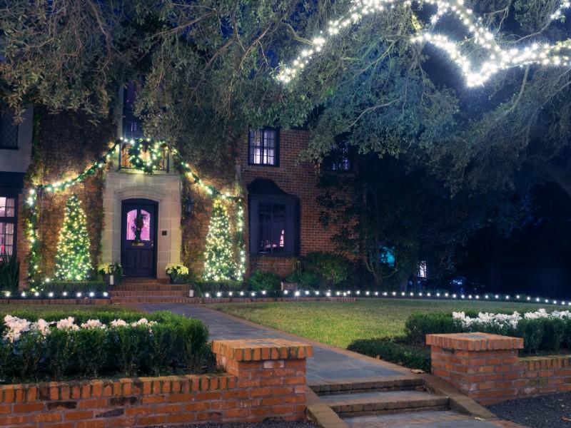 Brick house with Christmas lights, Houston