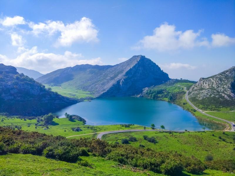 Enol Lake in Covadonga Lakes, Asturias, Spain