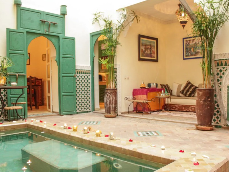 Patio and pool at Marrakesh Airbnb, Morocco