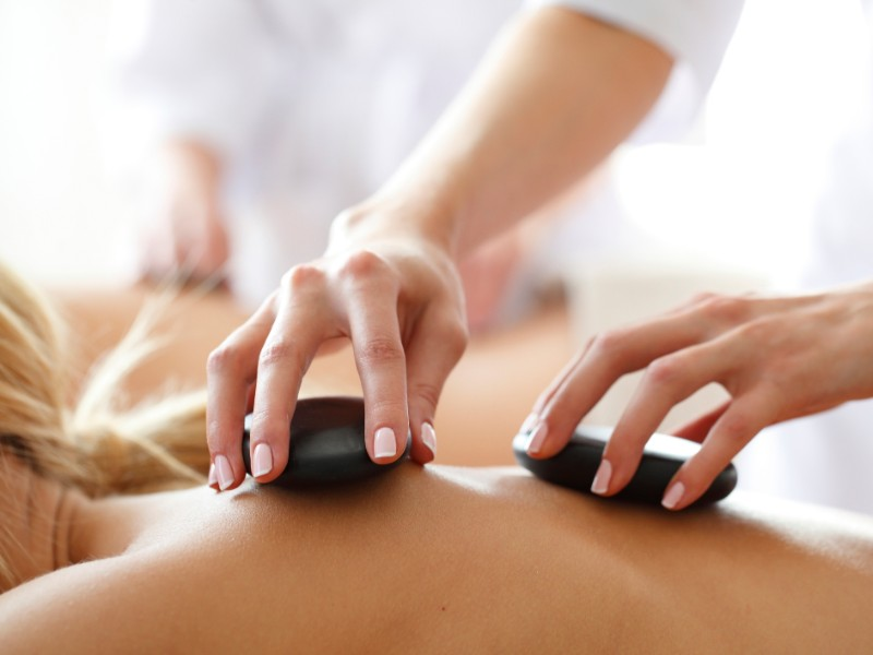 Relaxing hot stone massage