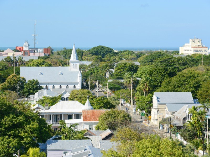Aerial view of Key West Old Town and Whitehead Street
