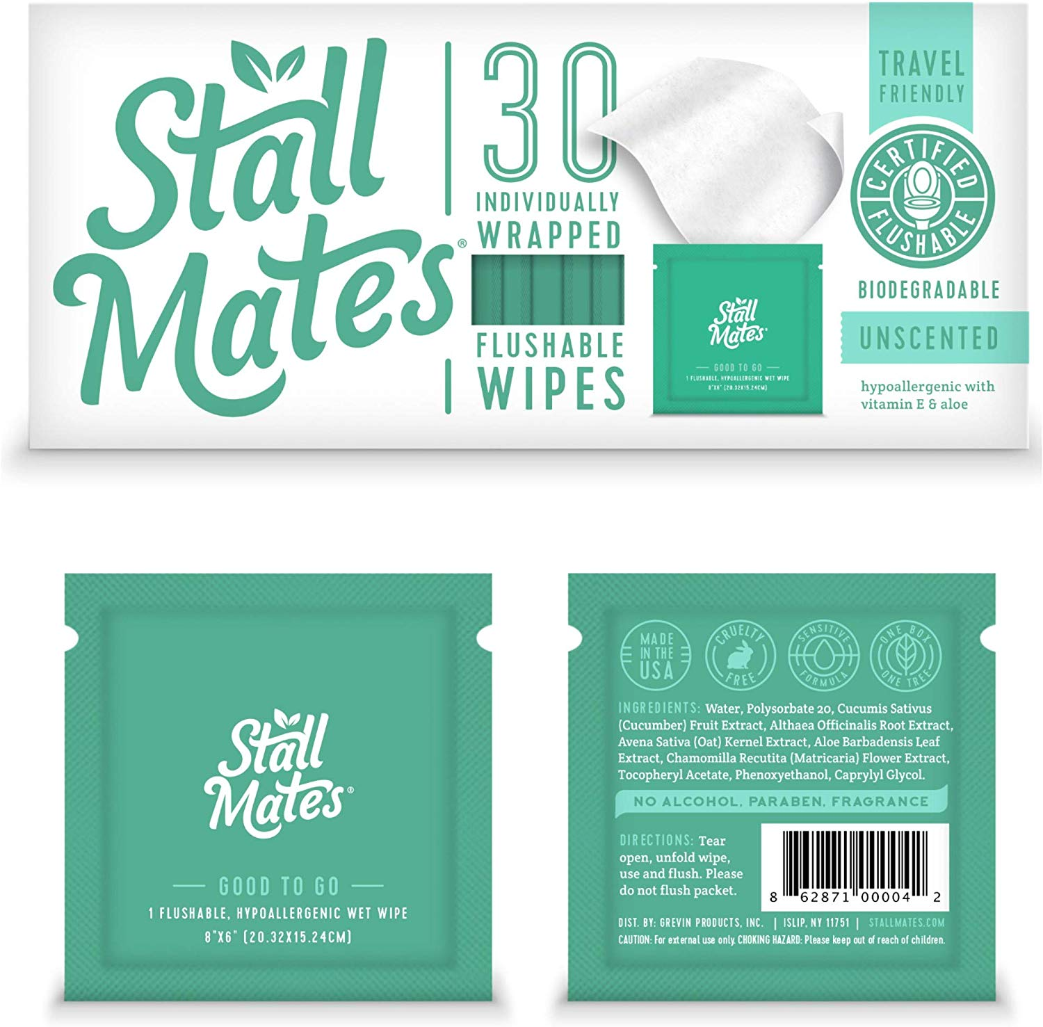 Stall Mates: Flushable, Individually Wrapped Wipes for Travel. Unscented with Vitamin-E & Aloe, 100% Biodegradable
