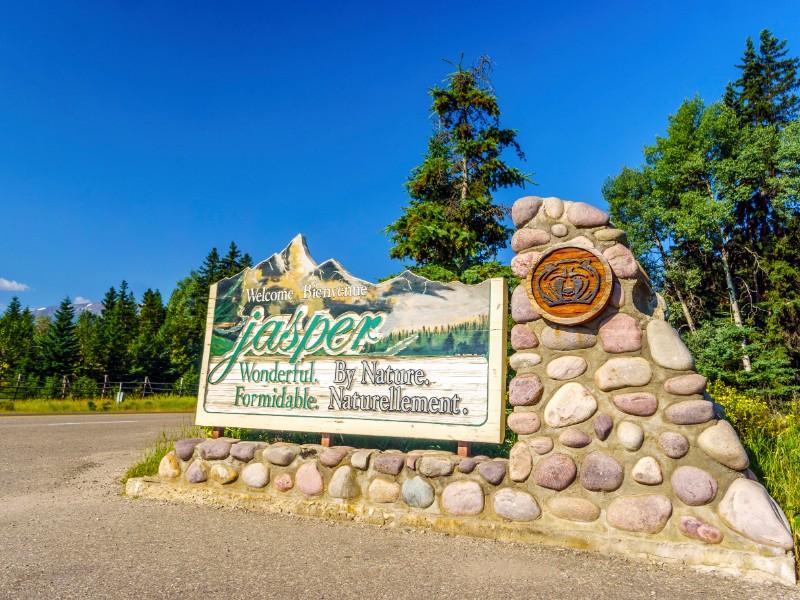 Welcome to Jasper sign, Alberta
