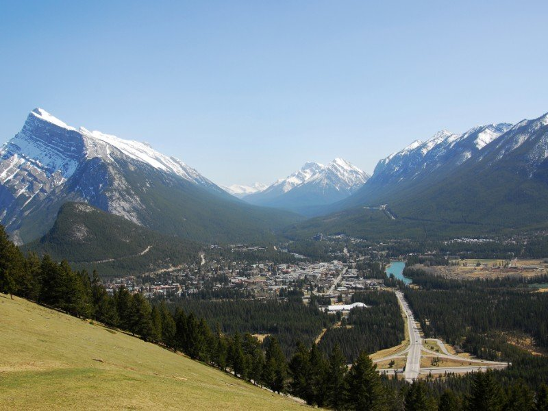 View of Banff town and Bow Valley, Alberta
