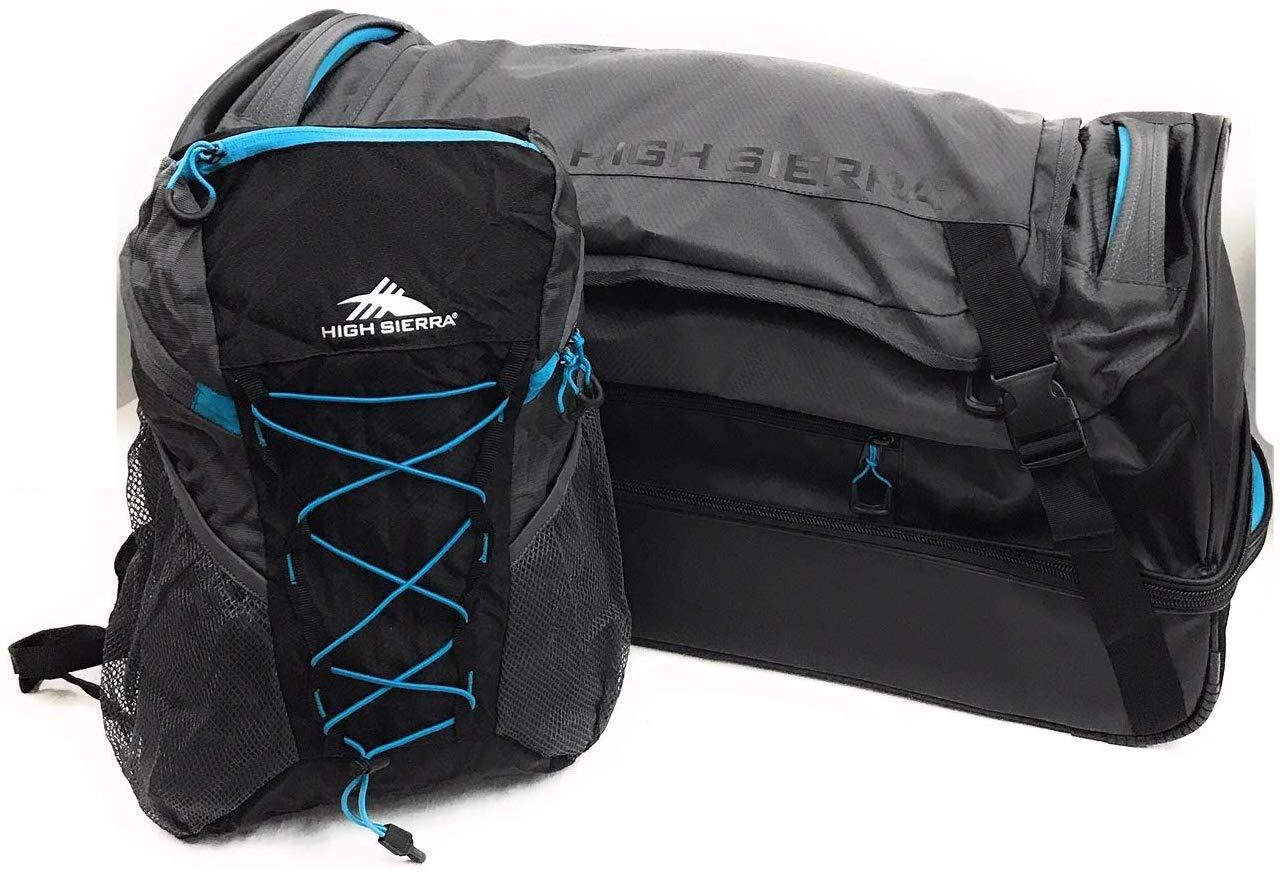 High Sierra 30 inch Drop-Bottom Wheeled Duffel and Pack-N-Go Backpack Set
