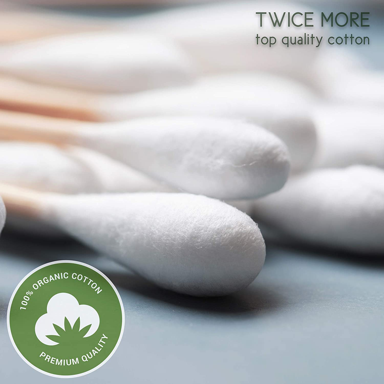 Premium Organic 500 Biodegradable Bamboo Cotton Swabs