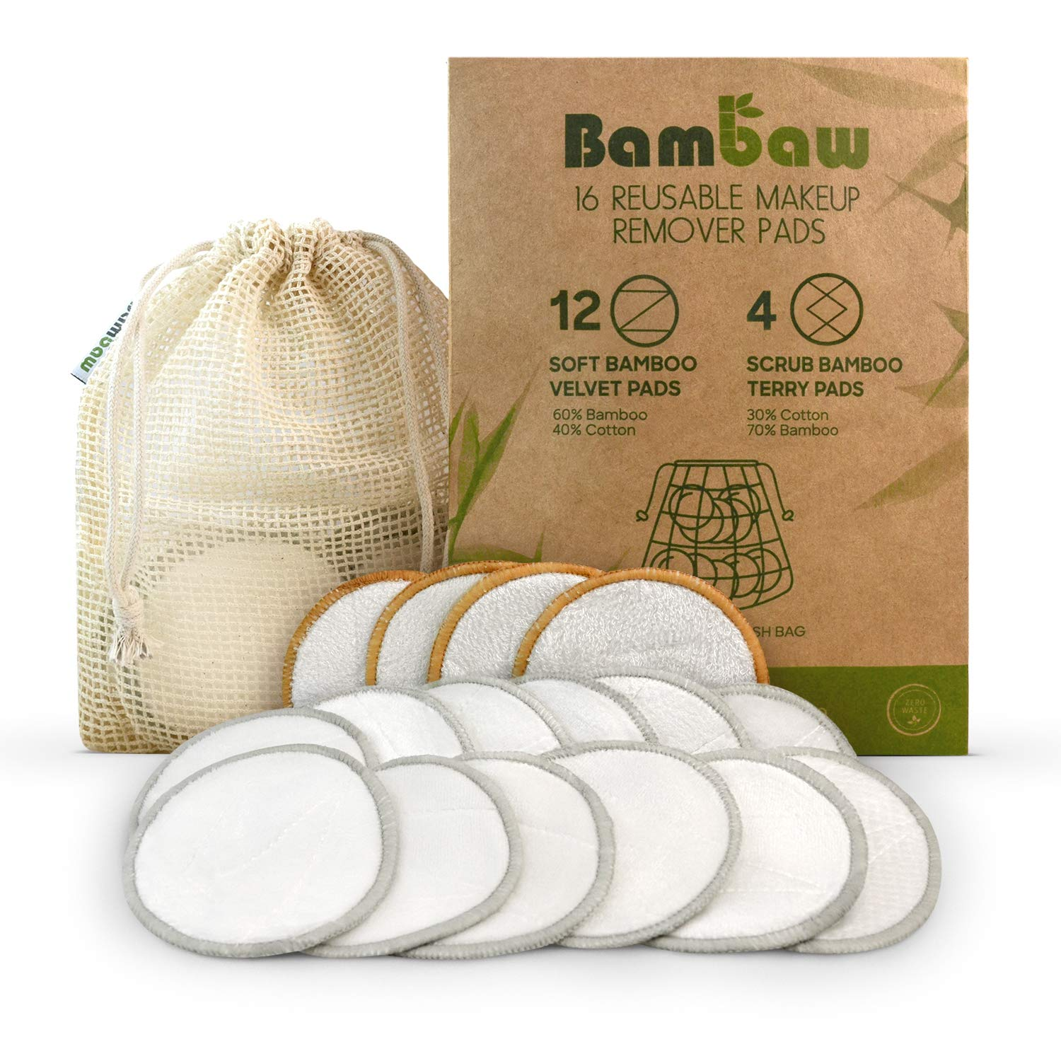 Reusable Make Up Remover Pads | 16 Bamboo Removal Pads with Laundry Bag | Washable and Eco-Friendly