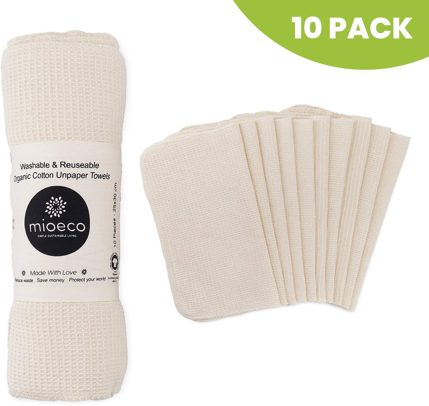 Mioeco Reusable Unpaper Towels Washable - Bamboo Nature Friendly Paper Towels Organic Cotton