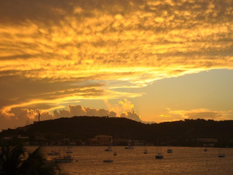 Sunset over a harbor in Culebra, Puerto Rico