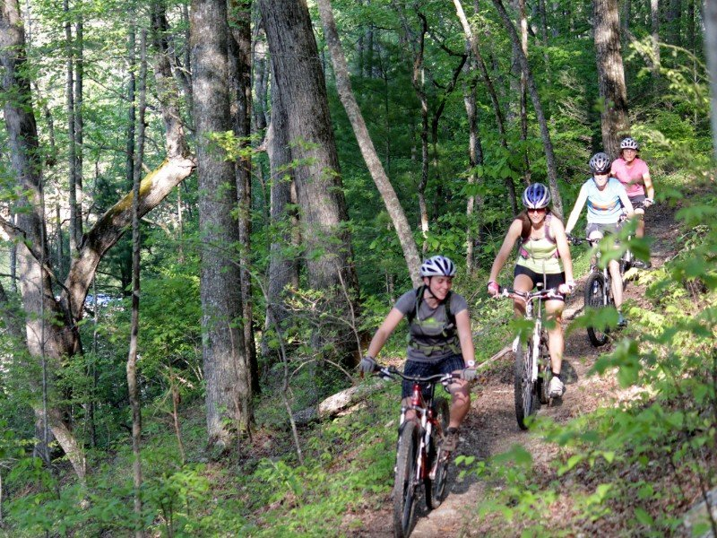 Bikers on the famous Tsali Recreation Trail System.