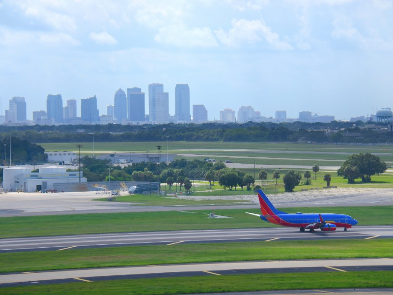 Tampa skyline with plane at Tampa Airport