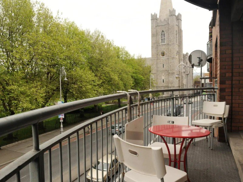 Balcony overlooking St. Patrick's Cathedral and the park, Dublin Airbnb