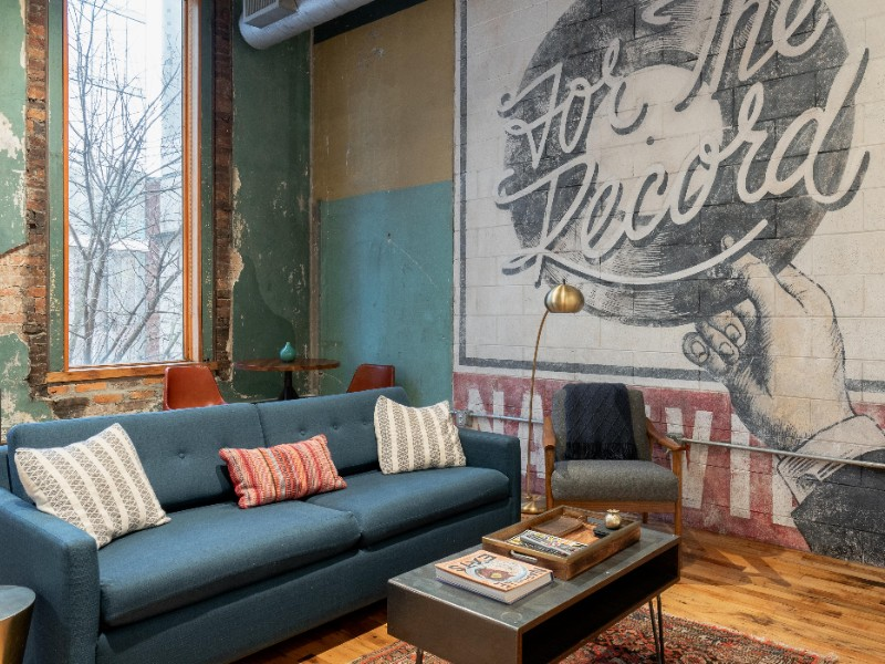 This industrial-chic loft apartment is steps from Broadway.