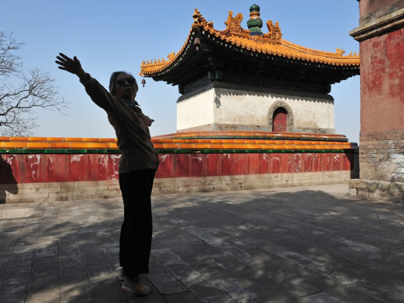 Practicing tai chi in China