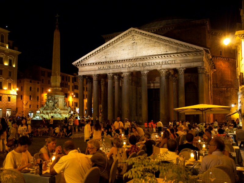 Dining near the Pantheon in Rome, Italy