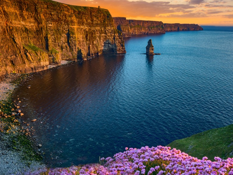 sunset at the Cliffs of Moher, Ireland