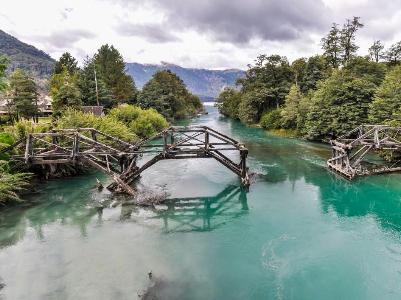 Abandoned bridge, Road of the Seven Lakes, Argentina