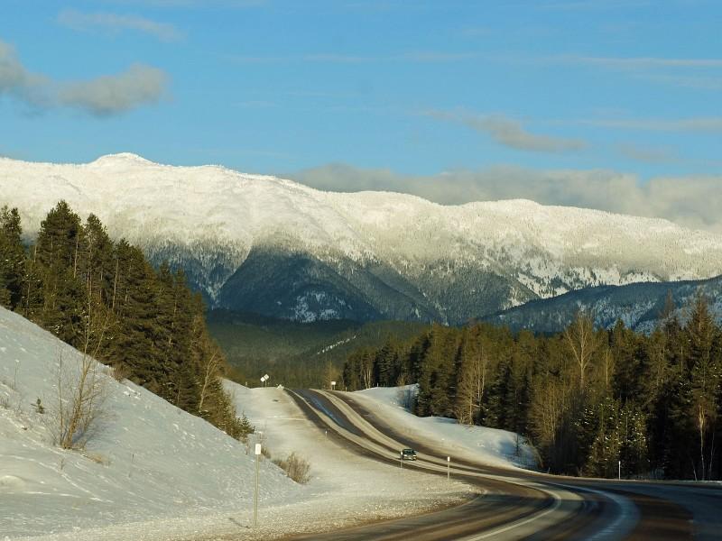 snowy road Montana