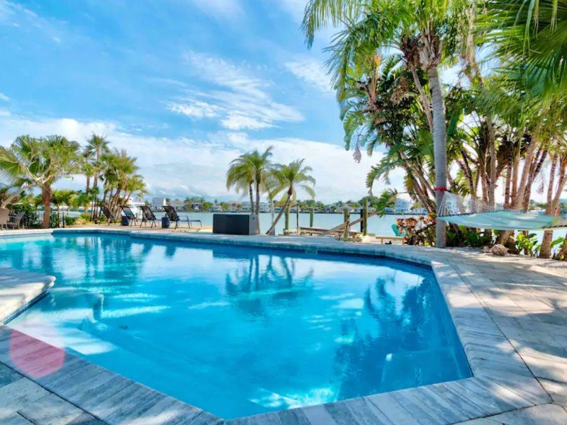 Watch the Dolphins and Sunset from the pool, Indian Rocks Beach, Florida