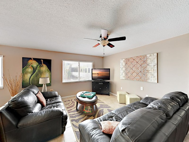 Living room at 2BR 'Waves 20' Condo Across from St. Pete Beach