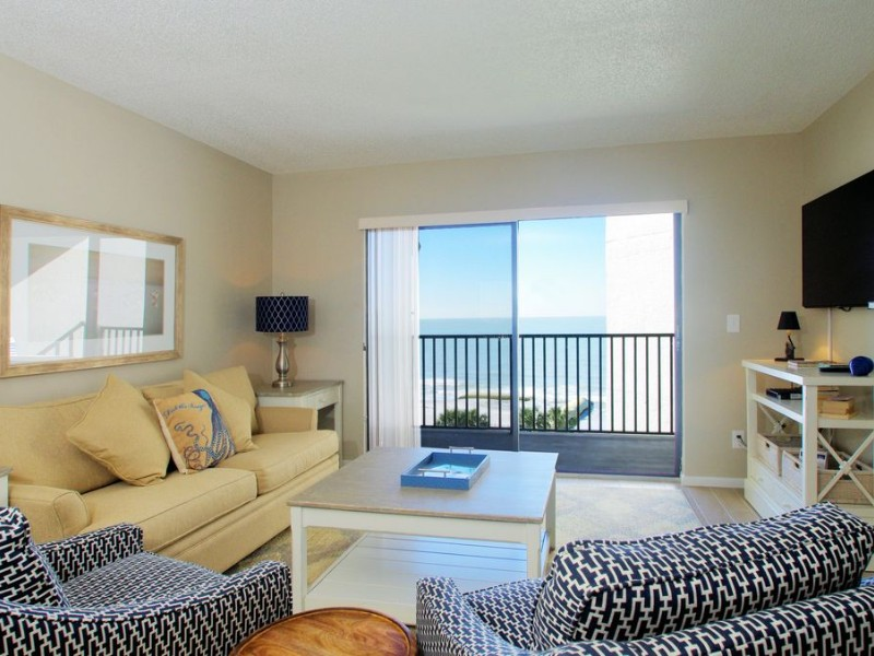 Living room at Gulf Front Two-Bedroom Condo with Panoramic Ocean View