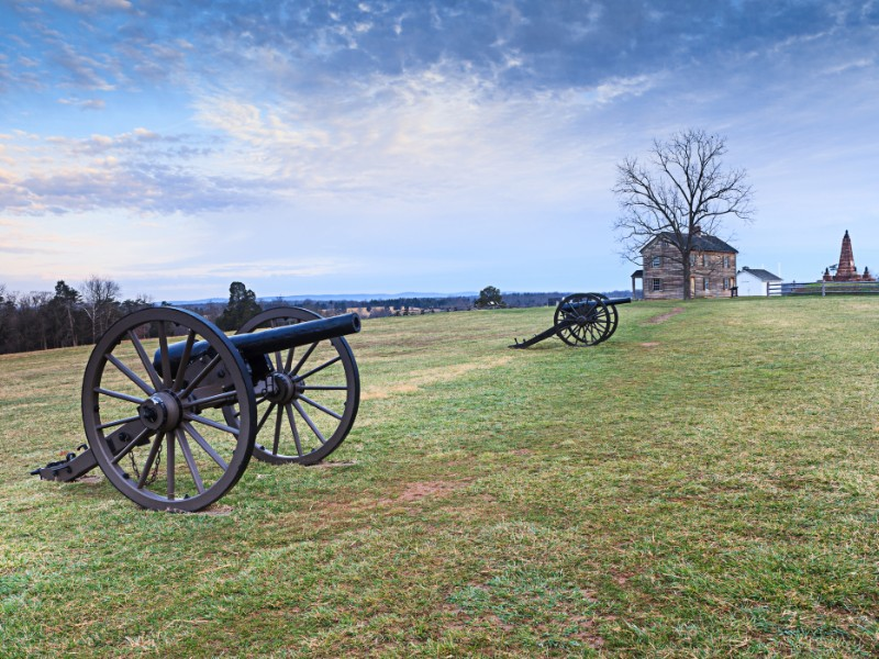 Landscape of Henry Hill house with historic canons