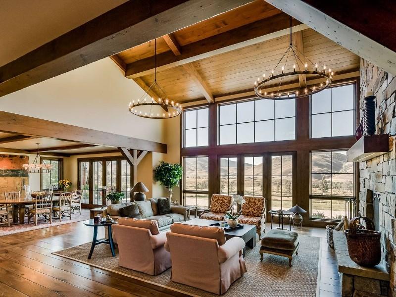 Living room and view, Sagewillow Road at Elkhorn, Idaho