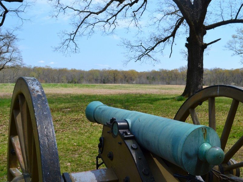 A cannon overlooks the battlefield towards the Hornet's Nest at Shiloh National Military Park