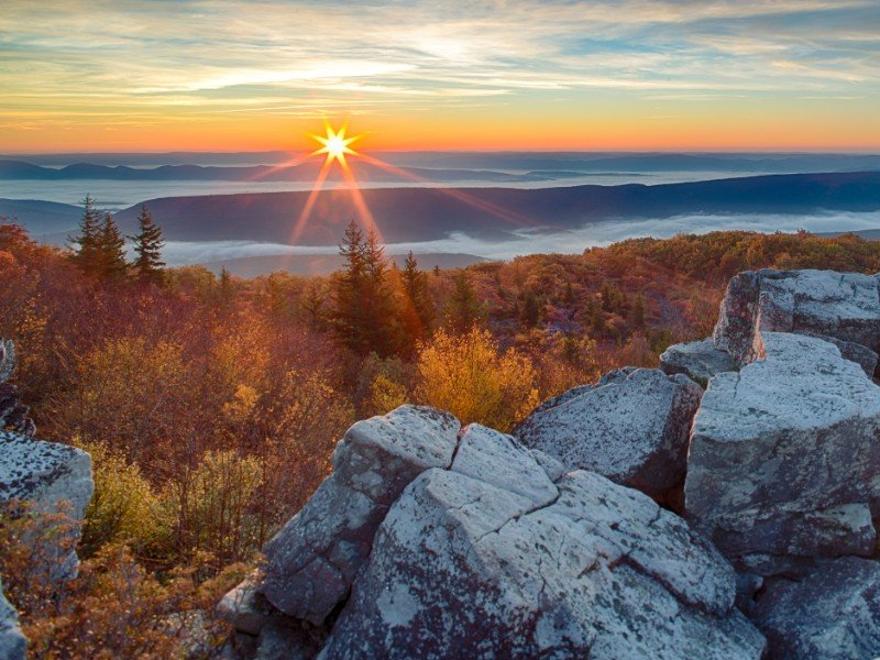 Sunrise in the Allegheny Mountains of West Virginia.
