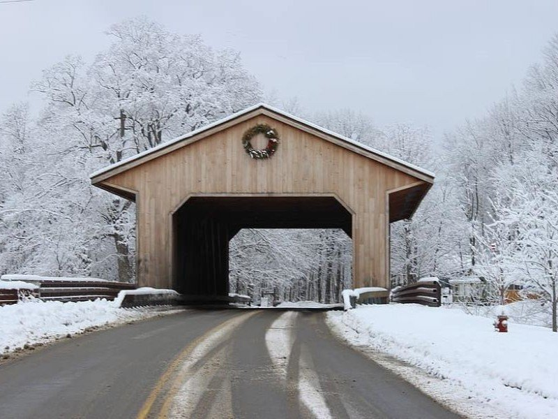 Jackson, New Hampshire covered bridge in the winter