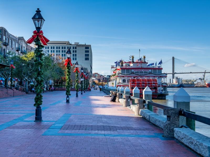 Georgia Queen on the Savannah River at Christmas, Savannah, Georgia