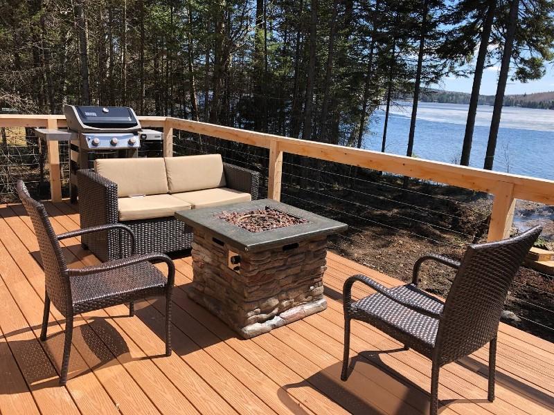 Newly built waterfront back lake cabin