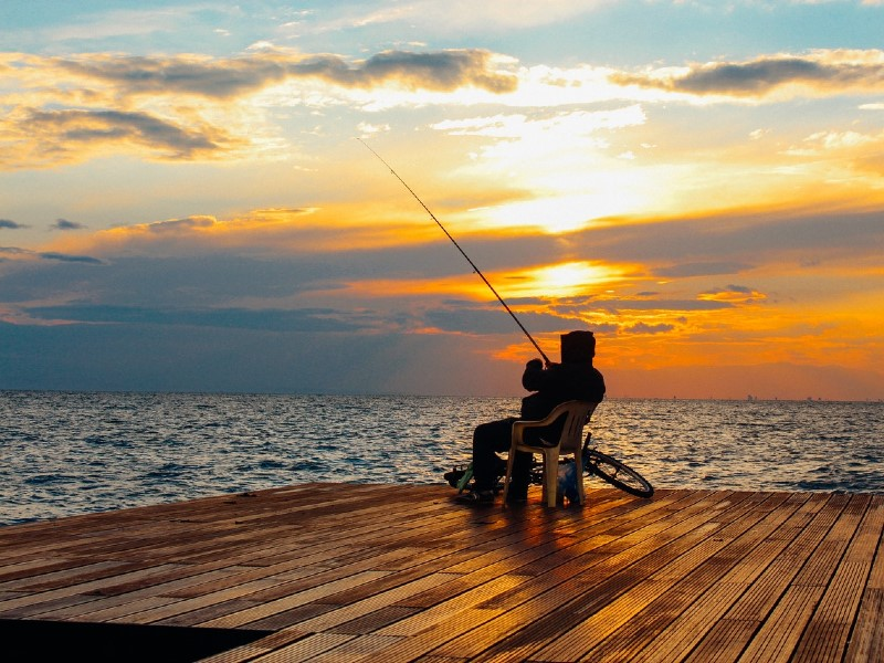fishing on a dock
