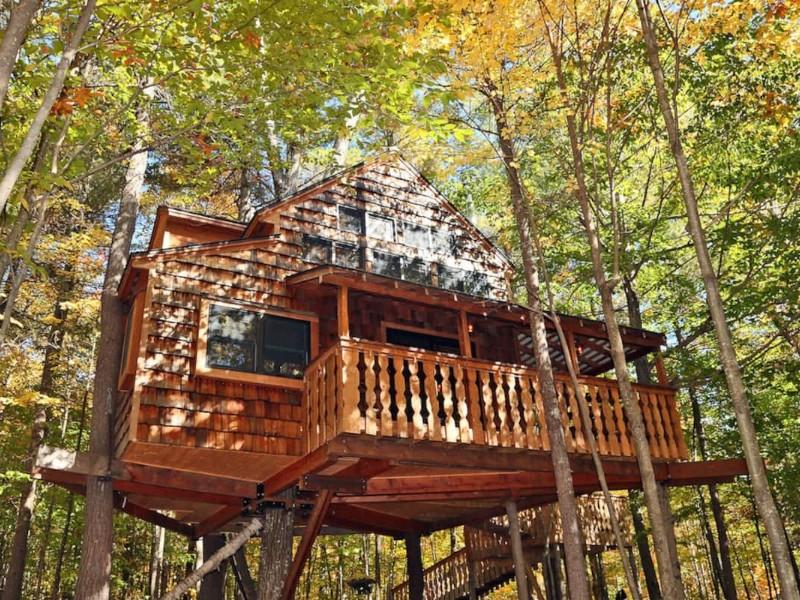 Amazing Two Story Treehouse, Newbury, New Hampshire