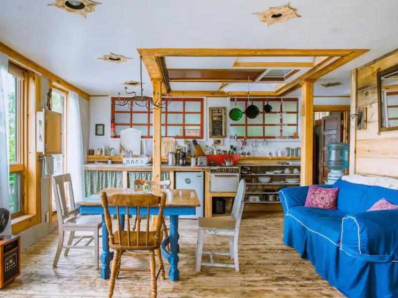 Kitchen at Organic Farm Artistic Spacious Four-Bed Eco-Loft, Franklin, Maine