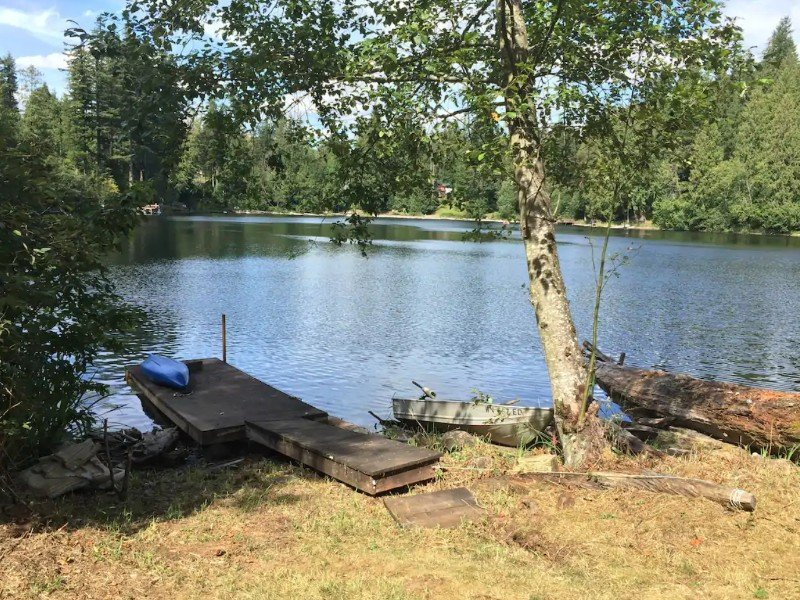 Dock and Kayak at Lakefront Cottage, Enumclaw, Washington