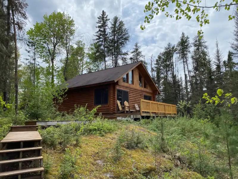 Leaning Cedar Cabin near Boundary Waters, Minnesota