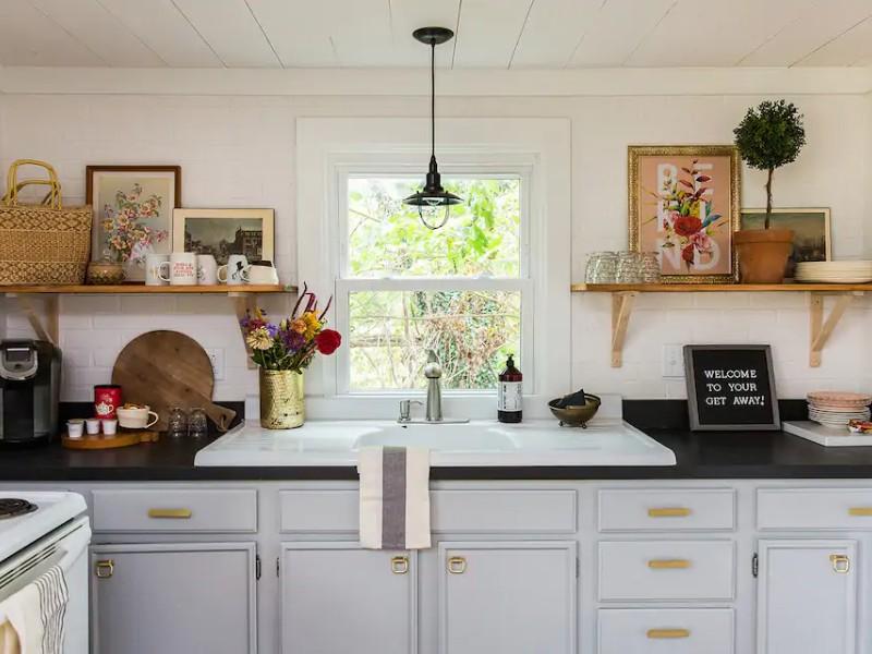 Kitchen inside cottage retreat