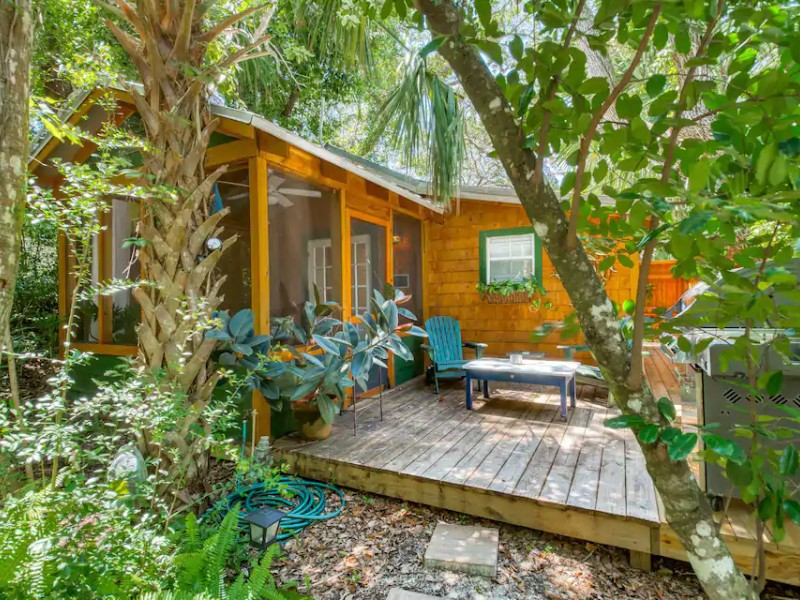View of Romantic Cabin in Quiet Wooded Lot