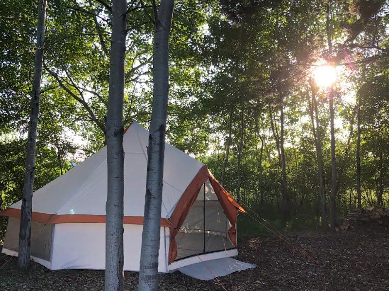 Outside Secluded Yurt Style Tent at Stone Creek Farm