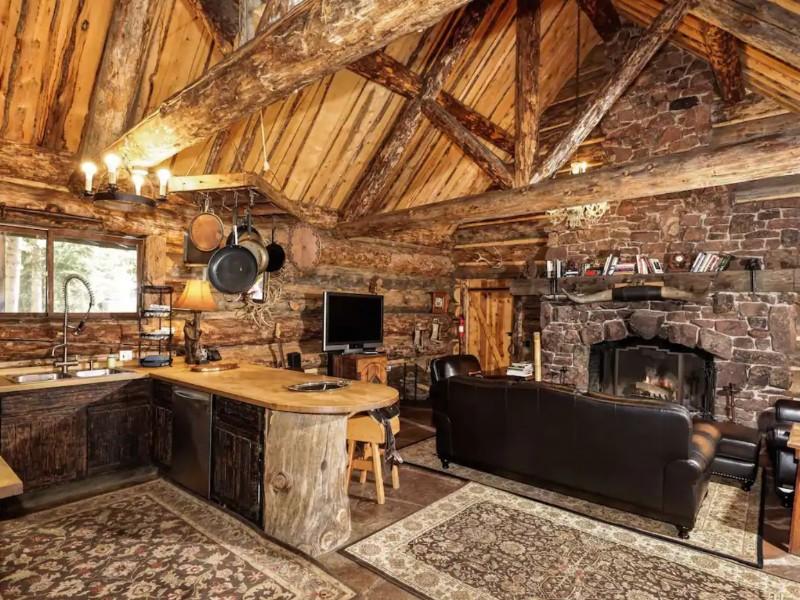 Stone Fireplace at Cozy Rustic Cabin, Aspen, Colorado